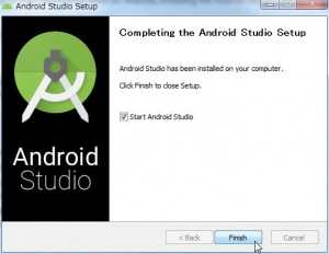 [Comleting the Android Studio Setup]画面が表示されるので[Finish]